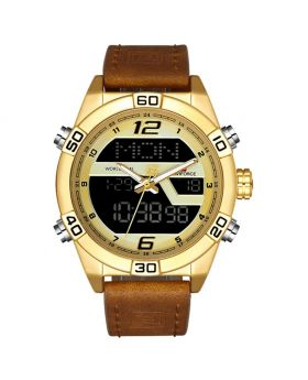 NAVIFORCE 9128 Brown Strap Black Case and Dial Face. Dual Time Men Sports Watches Leather Wrist Best Quartz Watch