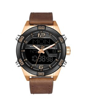 NAVIFORCE 9128 Black Strap Black Case and Dial Face, Dual Time Men Sports Watches Leather Wrist Best Quartz Watch