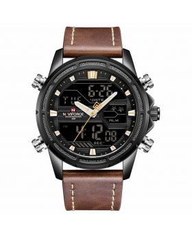 NAVIFORCE 9128 Brown Strap Gold Case Black Dial face, Dual Time Men Sports Watches Leather Wrist Best Quartz Watch