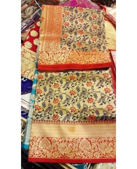 silk katan saree(golden and red)
