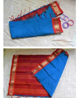 silk cotton saree(blue and red)