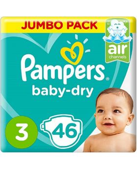 Pampers Baby-Dry Diapers, Size 3, Midi, 6-10kg, Jumbo Pack, 46 Count