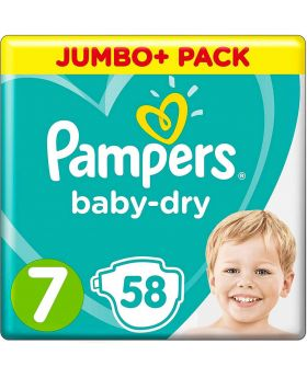 PAMPERS JUMBO PACK BABY DRY SIZE 7 (By 58 nappies)