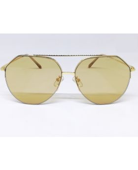 Metal-Plastic Golden Unique Design Sunglass for Men