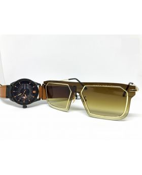 Metal-Plastic Black-Golden Sunglass for Men