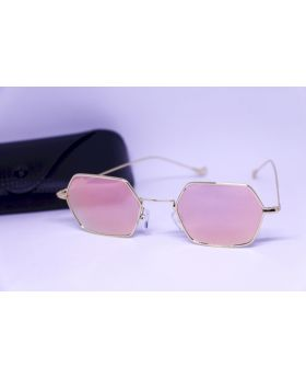 Metal Golden-Pink Sunglass For Women