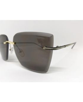 Metal & Plastic Black-Golden Rectangular Sunglass For Women