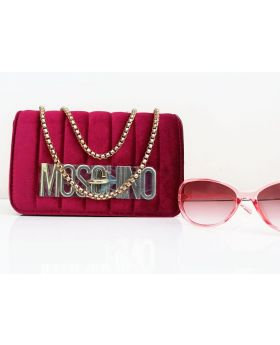 Velvet Square Shaped Maroon Color Ladies Bag