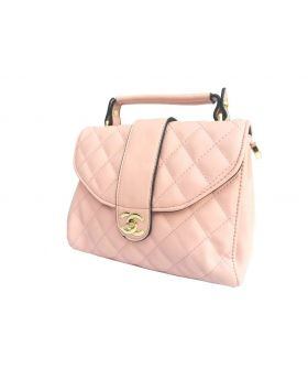 Artificial Leather Square Shaped Creamy Color Ladies Bag