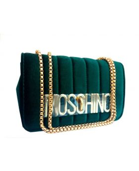 Velvet Square Shaped Dark Green Color Ladies Bag