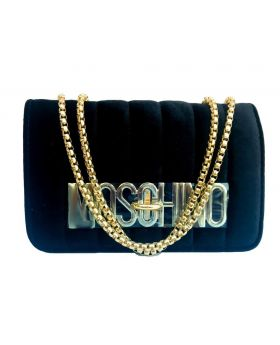 Velvet Square Shaped Pure Black Color Ladies Bag