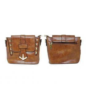 Artificial Leather Square Shaped Brown Color Ladies Bag