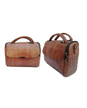 Brownish Artificial Leather Hand Bag for Women