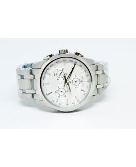 Replica Men's Watch Silver color & White-Silver Bezel