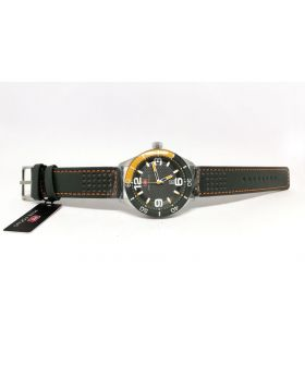 Mini Focus Silver & Grey-Yellow Color Analog Movement Date Function & Water Resistant Watch for Men