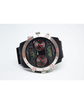 D-Ziner Black Silicon Strap Analog and Digital Movement Dual Time & Water Resistant Watch for Men