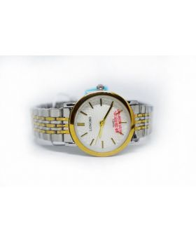 Longbo Metal Strap & Bezel Silver and Golden Gents Pair available Watch for Men