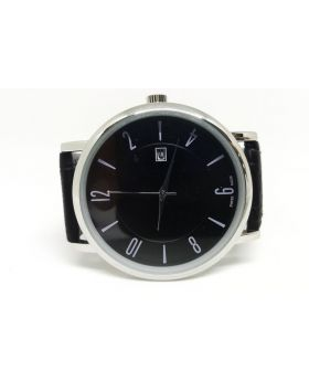 Longines Replica Black Textured Strap PU Leather Silver Date Function Watch for Men