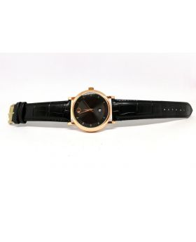 Movado Replica Black Strap Textured PU Leather Rose-Gold Date Function Watch for Men