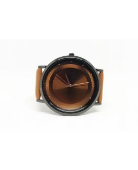 Kaxina Replica Brown Artificial Leather Metalic Grey Bezel Rose Gold Hands
