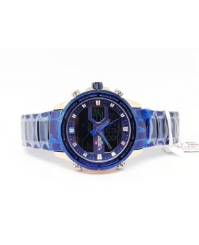 Naviforce Analog and Digital Display Rose-Gold Bezel and Blue Metal Strap Watch for Men