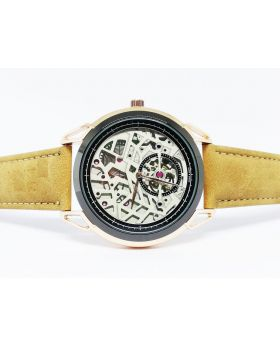 Replica Light Brown PU Leather Strap, Silver-Rose Gold Bezel, Designed Dial Watch for Men