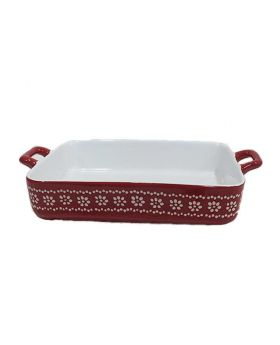 Red Ceramic Rice Bowl with cover 10 Inch-1 Pc