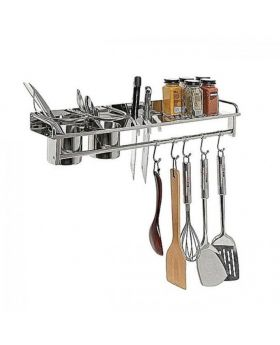 Stainless Steel Wall Mounted Kitchen Storage - Silver