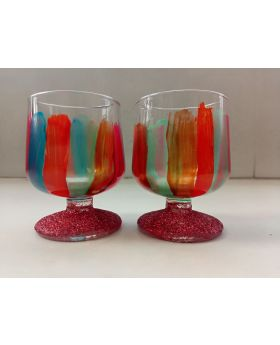 multicolor base decorative shot glass
