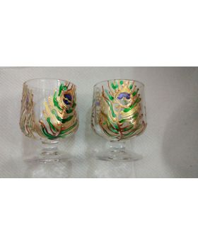 peacock feather decorative shot glass