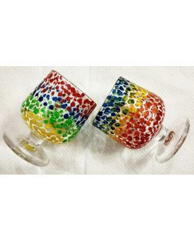 multicolor dot decorative shot glass