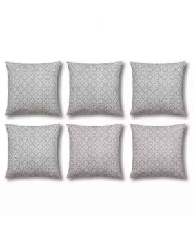 Six Pieces Cushion Cover Set Silver Color