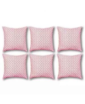 Six Pieces White & Red Cushion Cover Set