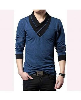 Mens Navy Blue Cotton Full Sleeve T-Shirt