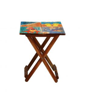 Hand Painted Wooden Folding Table Design No 5