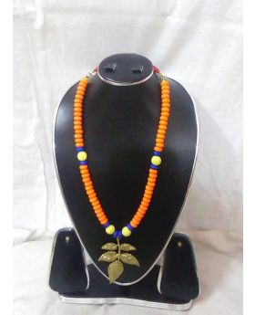 Orange - Belgian beaded regular necklace