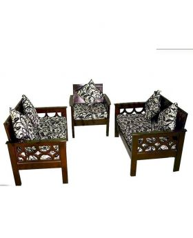 Malaysian Wood Slim Fit Design Stylish Sofa Set - Dark chocolate