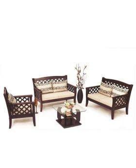 Malaysian Wood Slim Fit Design Sofa Set - Dark chocolate