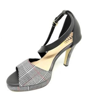 Black-White Synthetic Sandal with Back Pointed Heel for Women