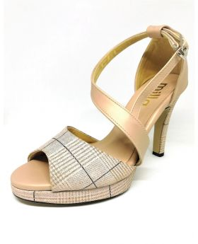 Brown-White Synthetic Sandal with Back Pointed Heel for Women