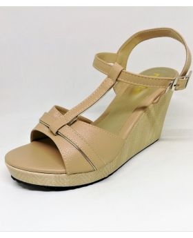 Brown Artificial Leather Sandal with Block-Heel for Women