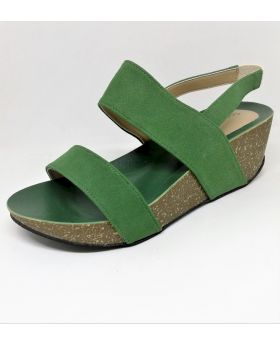Green Artificial Leather Sandal with Block-Heel for Women