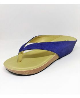 Blue Artificial Leather Flat-Block Sandal for Women