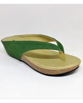 Green Artificial Leather Flat-Block Sandal for Women