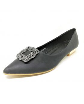 Black Stylish Artificial Leather Semi Heel Shoe for Women