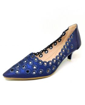 Dark Blue Artificial Leather Semi Heel Shoe for Women