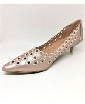 Stylish Light Pink Artificial Leather Semi Heel Shoe for Women