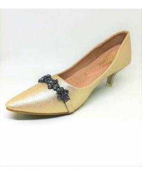 Golden Artificial Leather Semi Heel Shoe for Women
