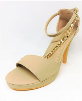 Light Brown Artificial Leather Heel Pointed Sandal for Women