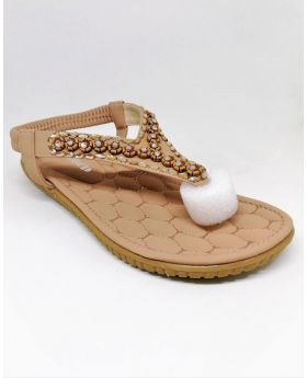 Pinkish-Brown Artificial Leather Flat Sandal for Women